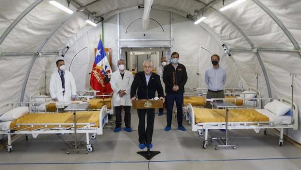 ep sebastian pinera inaugura un hospital de campana