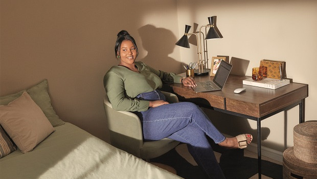 made recruiter and campaign star, charlene, set up office in her bedroom to avoid the  distractions of busy family life   rakara desk, £449 ; revy office chair, £249