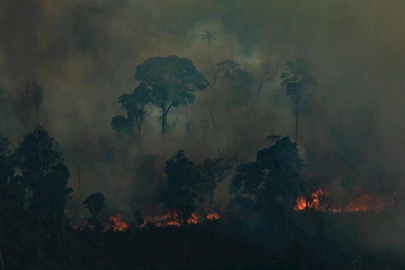 ep incendios en la amazonas de brasil cerca de caneiras do jamari en rondonia imagen de archivo