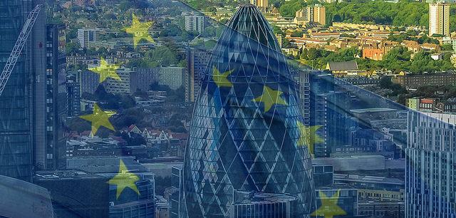 Gherkin, City of London and EU flag by Descrier