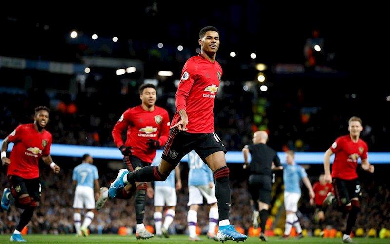 ep marcus rashford celebra un gol con el manchester united