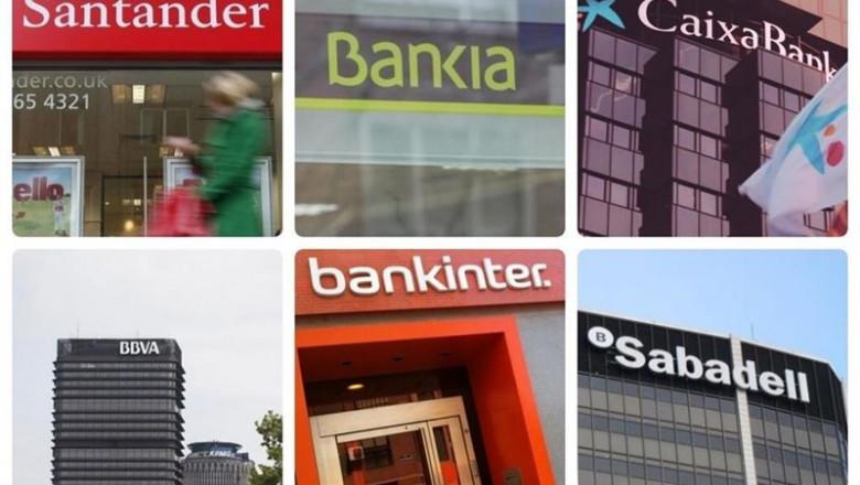 ep montaje de los logos de los seis bancos cotizados en espana